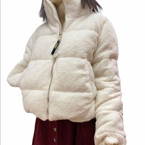 NEW White Teddy Bear Puffer Coat. Juicy Couture XL